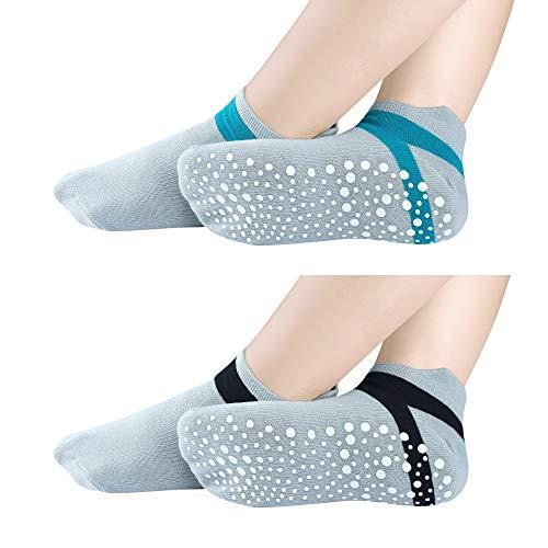 Qishare 2 Paar rutschfeste Grip Yoga Socken für Frauen und Männer, Protect für Yoga, Pilates, Mutterschaft, Trampolin, Zumba, Tai Chi und zu Hause, Low-Cut Socken (Grau&Schwarz, Grau&Dunkelgrün, S)