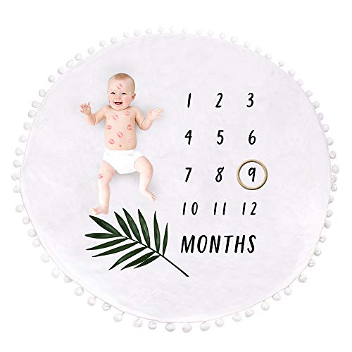 Milestone Blanket Baby Monthly - Wooden Ring Marker  Swaddle   Ultra Soft   Growing Newborn   Gift   Comforter   Play Mat   Photography   Capture Memories   Boy   Girl   Infant