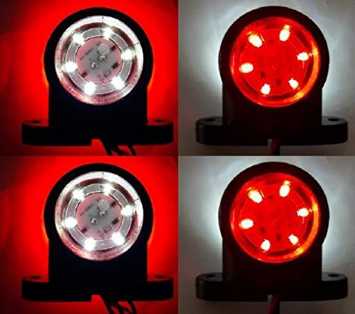 4 x LED 12 & 24 V rot weiß Seitenumrandungsmarkierung 12SMD LEDs Beleuchtung Chassis Anhänger LKW Bus Van Camper