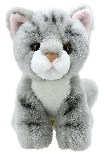 Lashuma Plüsch Katze Grau Getigert, Kuschelige Plüschtier Mieze Sitzend, Stofftier Kätzchen 15 cm als Einschlafhilfe