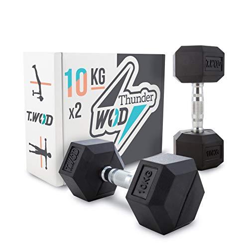 Thunder WOD - Mancuernas Hexagonales 10Kg + Tabla con 26 Ejercicios - Juego de Pesas Crossfit