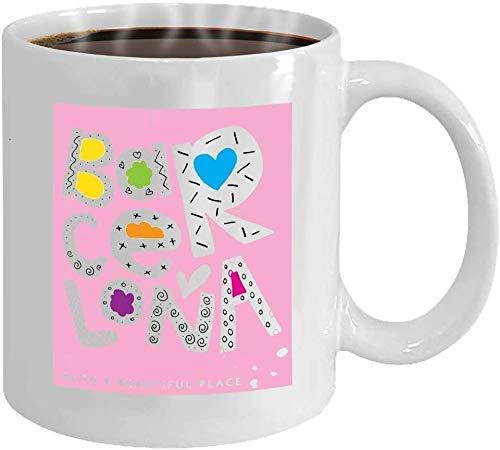 NA Taza de café 11oz-Mug Personalizada - Taza de café - Regalos Personalizados- 11oz White Tea Cup Barcelona Tipografía Caligrafía Slogan Tees Imprimir