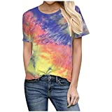 Womens Casual Tie-Dye T Shirt Summer Casual O-Neck Short Sleeve Plus Size Tops Yellow