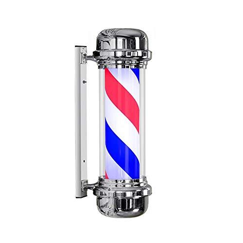 Enseigne Barbier Coiffure Salon Poteau de Barbier Filage Lumière Signe Mur Lampe Lmperméable Extérieur Rouge Blanc Bleu LED Bandes, Red, 71CM