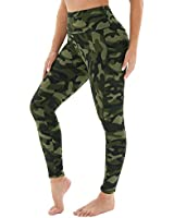 HLTPRO Printed Yoga Leggings with Pockets for Women - High Waist Tummy Control Running Workout Yoga Pants Army Green Camo