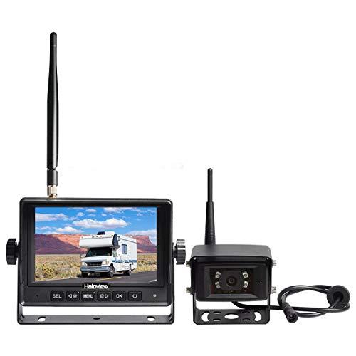 Haloview MC5101 Digital Wireless Backup Camera System Kit 5'' LCD Reversing Monitor and IP69K Waterproof Rear View Camera for Truck/Trailer/Bus/RV/Pickups/Camper/Van/Farm Machine Car