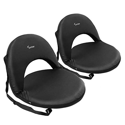 Sportneer Stadium Seats for Bleachers Foldable 6 Position Reclining Padded Cushion Seat Chair with Carry Strap, 2 Pack