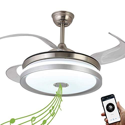 Ventilador de techo retráctil con luz y altavoz Bluetooth, ventilador de techo Bluetooth con mando a distancia, 7 colores de 36 W, 42...