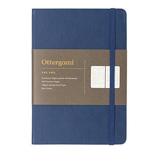 Notizbuch A5 Gepunktet - 150gsm Paper - Luxus Bullet Dotted Journal - The Pro von Ottergami (Blau)