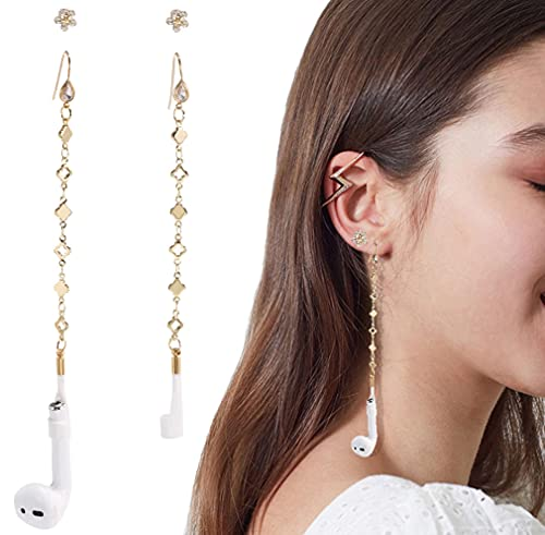 Airpod Holder Anti Lost Earring Strap for Airpods (Need Ear Hole) 2 Pr Zircon Flower Anti Lost Strap for Airpods Pro, Wireless Earbuds Earphone Holder Connector, Compatible with Airpods 1 2 3