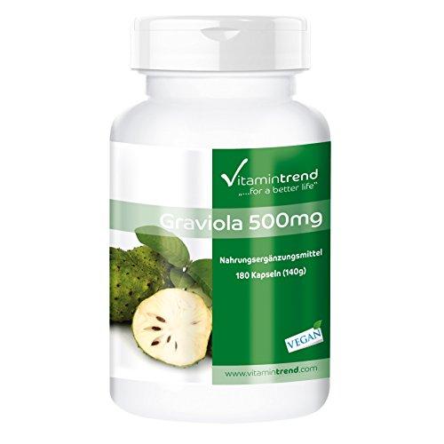 Graviola 500mg - 180 vegane Kapseln - aus Graviola-Frucht (Stachelannone, Soursop) - Hochdosiert - ! FÜR 6 MONATE ! - Hergestellt in Deutschland
