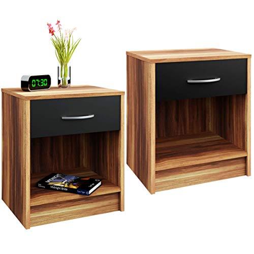 Deuba Nachttisch 2er Set Schublade mit Griff Schwarz Braun 50 x 40 x 35 cm Holz Nachtkommode Nachtkonsole Nachtschrank