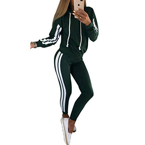 MEIHAOWEI Sudadera con Capucha de Invierno Mujer Raya Informal Sudadera con Capucha de Manga Larga Tops Deportivos+Conjunto Pantalones