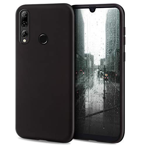 Moozy Minimalist Series Silikon Hülle für Huawei P Smart Plus 2019, Honor 20 Lite, Schwarz - Mattes Finish, Dünne, Weiche TPU-Handyhülle Schutzhülle