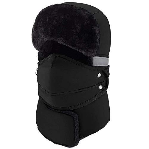 mysuntown Trapper Hat Winter Hats for Women Men with Faux Fur Neck Warmer, Windproof Waterproof Thick Trooper Ushanka Ski Hat mask for Outdoor, Black