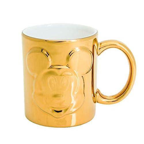 Joy Toy Mickey Mouse Deluxe Tazze con Rilievo in Ceramica Dorata, Oro