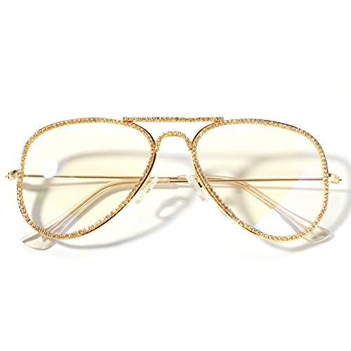 Moca Schmuck Hip Hop Brille Simuliert Diamant Vereist Strass Kristall Metallrahmen Retro Brille Für Männer Frauen (Gold)