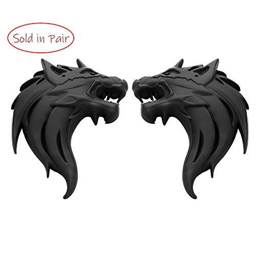 UpAuto 2pcs Cool Wolf Head Car Side/Rear/Front Decorations Badge Emblem 3D Self-Adhesive Nameplate Sticker for Car (Black)