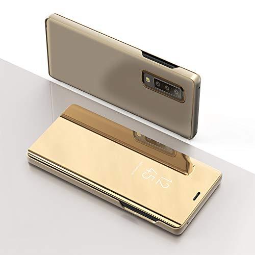 BUVYphonecase Los Accesorios del teléfono móvil del Espejo de la opinión Clara Giro Horizontal Caja de Cuero Elegante for el Galaxy A7 (2018), con el Titular (Negro) (Color : Gold)