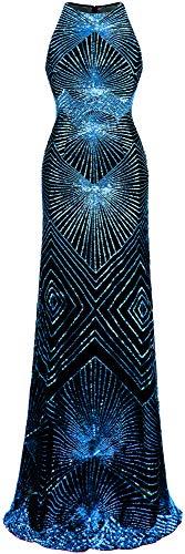 Angel-fashions Damen Gold Paillette Kunst Deko Säule Funkeln Lange Abendkleid (XL, Königsblau)