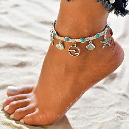 Handcess Fußkettchen / Fußkettchen mit Seestern-Motiv, Türkis, silberfarben, gewellt, für Damen und Mädchen