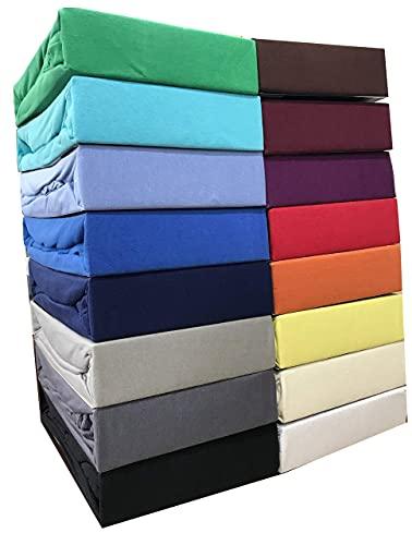 Leonado Vicent - Classic Spannbettlaken Bettlaken 100% Baumwolle Jersey Spannbetttuch in vielen Farben & Größen MARKENQUALITÄT ÖKO TEX Standard 100 (200 x 200 cm - 200 x 220 cm, Grau)