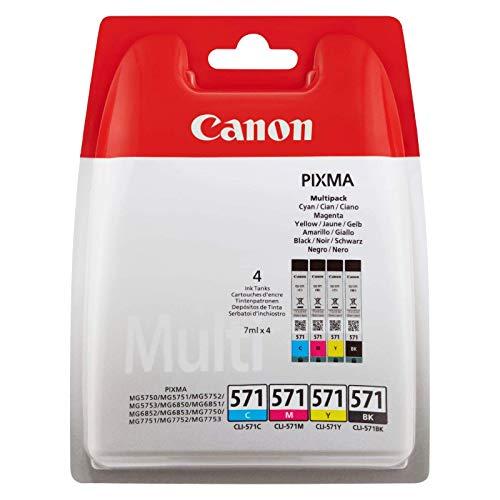 Canon CLI-571 Cartouche C/M/Y/BK Multipack Cyan, Magenta, Jaune, Noire (Multipack plastique)
