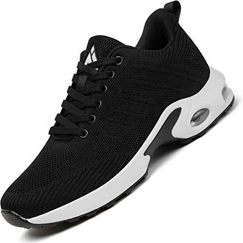 Mishansha Air Zapatillas de Running Mujer Respirable Zapatos de Deportes Femenino Ligeros Calzado Casual Caminar Sneakers Negro A, Gr.38 EU