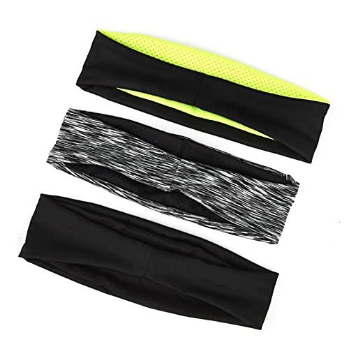 Fingertoys 3er Pack Sport Stirnband, Anti Rutsch Einstellbare Moisture Wicking Elastisches Stirnband, Laufstirnband für Joggen, Wandern, Fahrrad, Fußball und Fitness