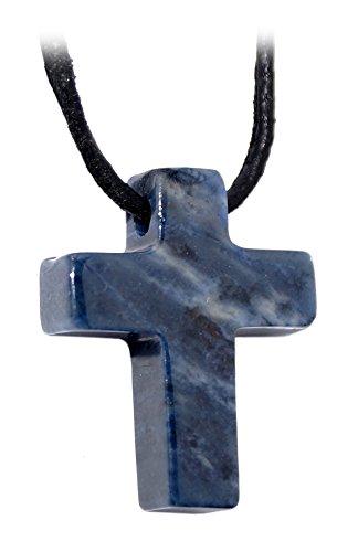 Kaltner Präsente Geschenkidee - Lederkette für Damen und Herren mit Edelstein Kreuz Anhänger Dumortierit Blau (25 x 20 mm)