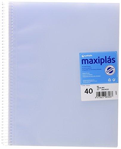 Grafoplas 39834000-Carpeta 40 fundas A4 de espiral con sobre. Transparente