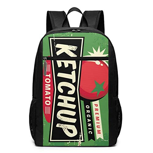 TRFashion Rucksack Ketchup Retro Sign Fashion Student Outdoor Backpack 17in Teens Bookbags Travel Laptop College Business Daypack Schoolbag Book Bag for Men Women Black