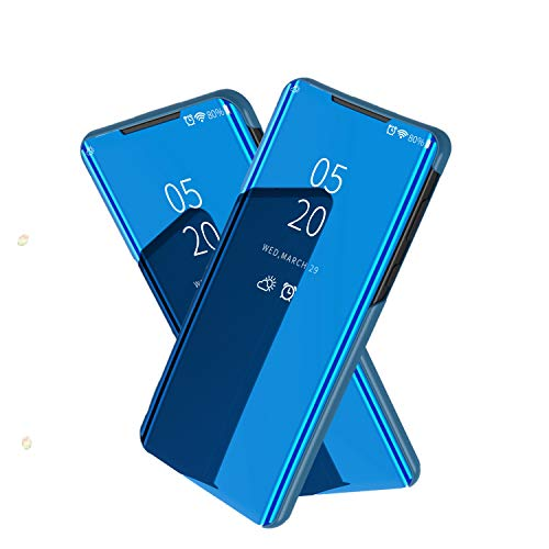 NOKOER Case for Samsung Galaxy S20 FE 5G, Mirror Flip Vertical Bracket Holster Phone Case[Ultra-thin] [Slim Fit] [Translucent Mirror] [Slip-Resistant] - Blue