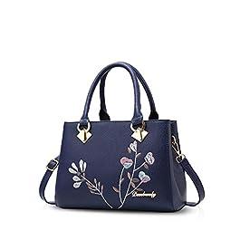 NICOLE&DORIS Sacs à Main Retro Women Handle Sac à Main Sac à bandoulière Crossbody Bag PU Leather Bleu