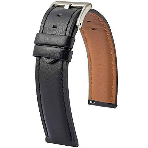 Bracelet de Montre Yuodoo Style Classique Cuir de Vachette Tailles 18mm 20mm 22mm Pompe Rapide Boucle en Acier (Noir, 22)