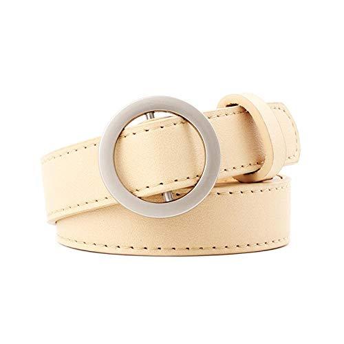 Ceinture Fashion PU Leather Women Belt Round Buckle Belt Ladies Pants Dress Jeans All-Match Simple Punk Decorative Belt Khaki