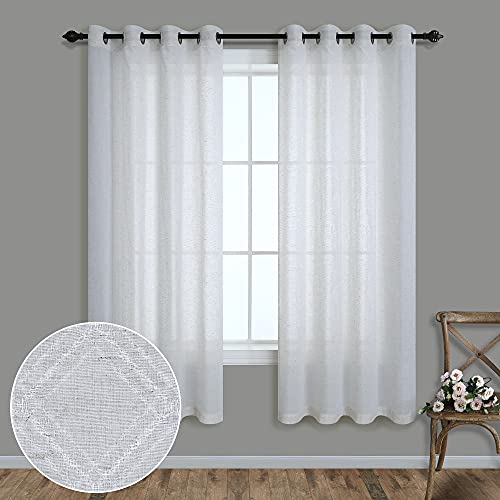 Pitalk White Linen Blend Curtains 63 Inch Length for Bedroom 2 Panels Grommet Top Window Drapes Semi Sheer Lightweight Curtains for Kitchen Bathroom Kids Room Country Farmhouse Decor 52x63 Inches Long