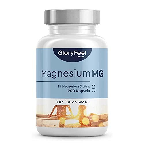 Magnesiumcitrat Hochdosiert - 200 vegane Kapseln - 2400mg davon 360mg elementares Magnesium pro Tagesdosis - Laborgeprüft, vegan ohne Zusätze in Deutschland hergestellt