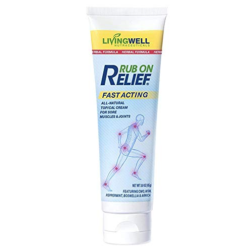 Rub on Relief Fast Acting Pain and Ache Relief Natural Cream for Muscles, Neck, Back, Joints, Knees, Arthritis and Shoulder Pain Relief