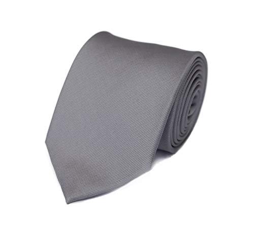 Fabio Farini - einfarbige und elegante Krawatte in verschiedenen Farben und Breiten zur Auswahl Silber 6cm