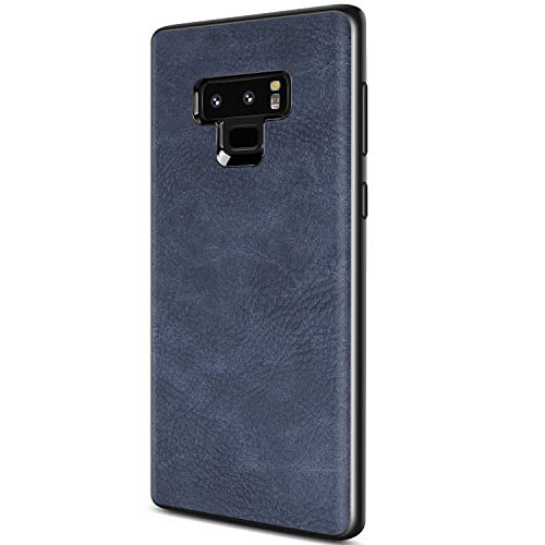 Samsung Galaxy Note 9 Case, Salawat Slim PU Leather Vintage Shockproof Phone Case Cover Lightweight Premium Soft TPU Bumper Hard PC Hybrid Protective Case for Samsung Galaxy Note 9 (Blue)