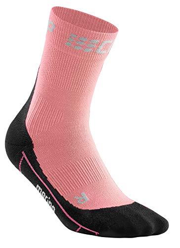 CEP – Winter Short Socks für Damen   Warme Laufsocken mit Kompressionswirkung in rosa/schwarz   Größe III