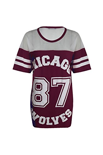Damen T-Shirt Chicago 87 Wolves Lockeres Übergroßes Baseball T-Shirt Kleid Langes Top, - wine - Round Crew Neck Casual Celeb Celebrity, M/L (UK 12-14)