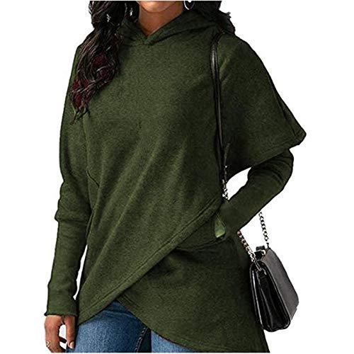 Sudaderas con capucha para mujer 2020 otoño invierno talla grande manga larga bolsillo sudadera sudadera con capucha mujer casual cálida sudadera con capucha (color: verde ejército, talla: XXL)
