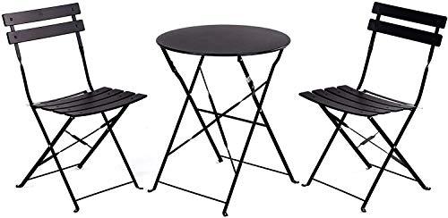 Aoboco Grand Patio ガーデンテーブル 3点セット折り畳み式テーブルと椅子、高級鋼レジャーベランダ テーブルセット、室外用テーブルテーブルチェアセット (ブラック)