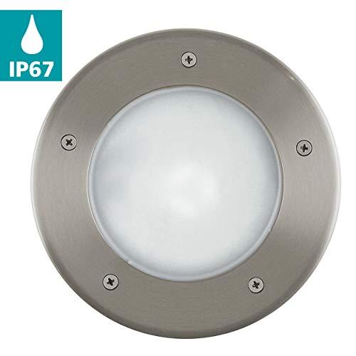 EGLO 230V, Ø 170 mm, IP67 buitenlamp vloerinbouwlamp Riga 3 van roestvrij staal diameter 17cm, staal, 17 cm
