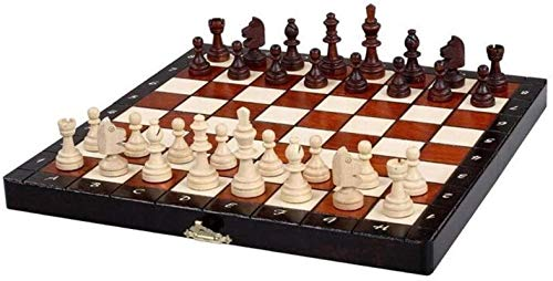 MWKLW Juego de ajedrez Staunton, ajedrez de Polonia, Tablero de ajedrez Plegable Importado, Juego de ajedrez Staunton magnético de Madera Maciza para niños