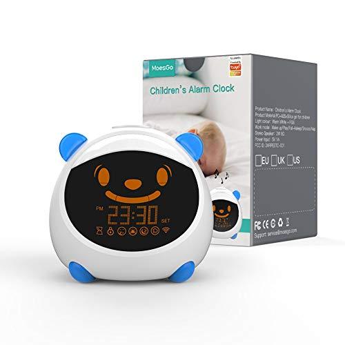 MoesGo Kinderwecker und intelligenter Schlaflerntrainer mit Nachtlicht, Tönen und Gesicht, kompatibel mit...