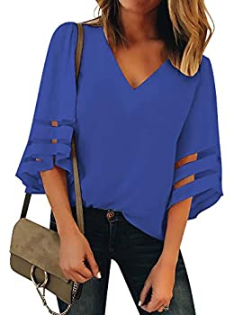 LookbookStore Women s Casual Cute V Neck Mesh Panel Blouse 3/4 Bell Sleeve Loose Top Summer Flowy Work Shirt Nautical Blue Size X-Large