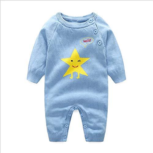 ZXYSHOP Peleles Navidad Bebé Niño Niña Crochet Punto Recién Infantil Largo Manga Mono Ropa (6~12 Meses),Azul,66cm